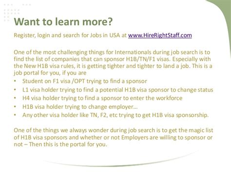 List Of Companies Sponsoring H1b Visa In Usa For Mba by A Portal Offering And Sponsor Visa In Usa For Free