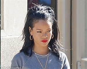 rihanna hairstyles half up half down rihanna dresses down for a change in jeans and a sweater