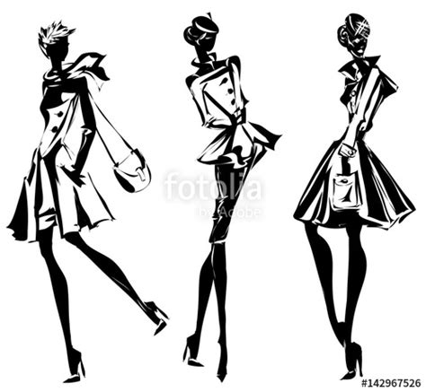 fashion illustration vector file quot black and white retro set fashion models silhouette