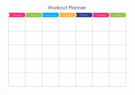 workout calendar template free templates