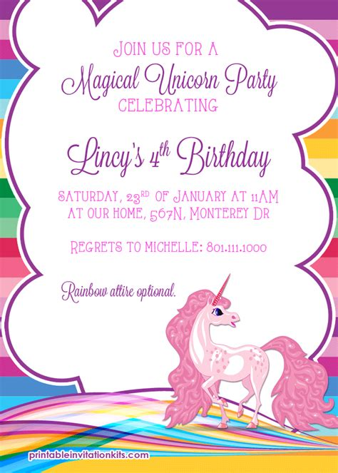free printable birthday card unicorn 9 best images of free printable unicorn invitations