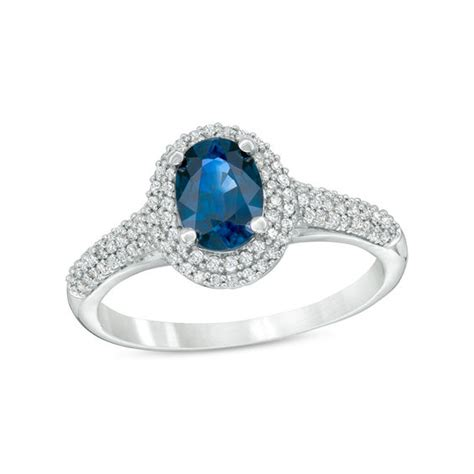 Blue Sapphire 4 0 Ct blue sapphire and 1 4 ct t w engagement ring in