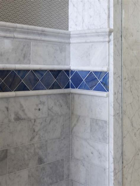 bathroom tile strips bath corner tile with accent strip traditional