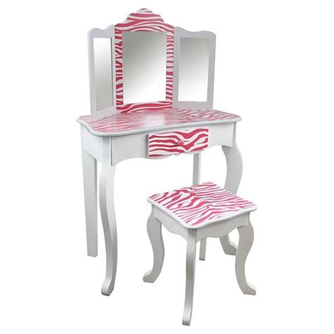 Vanity Children by Vanity Table And Stool Set Wood Zebra Tea Target