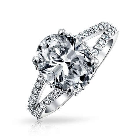 Silver Ring With Cubic Zirconia P 1009 bling jewelry 3 5ct sterling silver oval cubic zirconia engagement ring