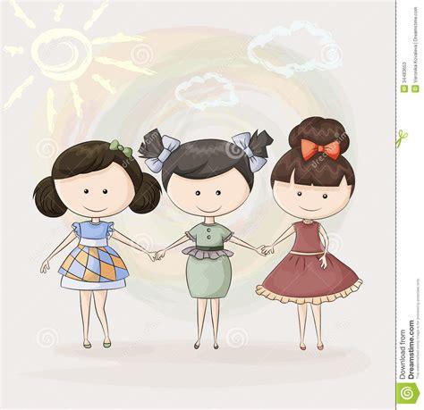 Imagenes Para Tres Amigas | tres amigas felices ilustraci 243 n del vector ilustraci 243 n de