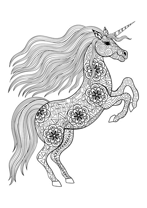 Unicorn on its two back legs - Unicorns Adult Coloring Pages