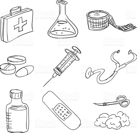 house items coloring pages first aid kit in sketch style stock vector art 457717029