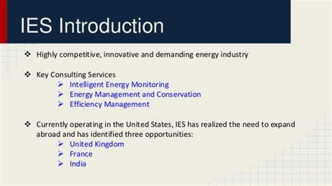 Ies Mba by Expansion Strategy For An Energy Company