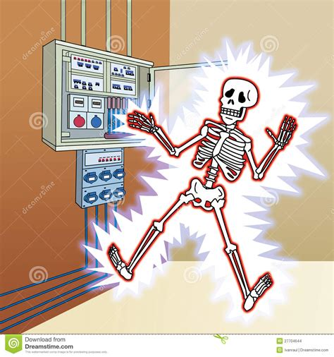 Voltage Floor Plans by Skeleton With Electric Shock At The Control Panel Stock