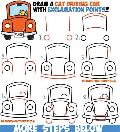 how to draw a car step by step for how to draw cat driving a car from