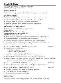 Management Resume Skills resume sle administrative support project management