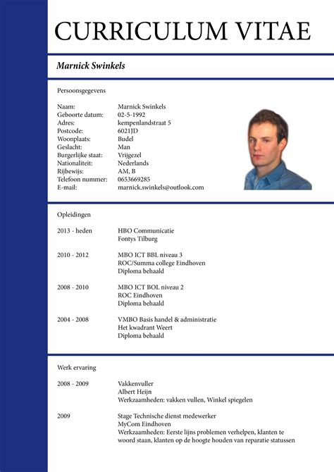 exle of curriculum vitae with picture resume template exle blank cv ireland 51 templates