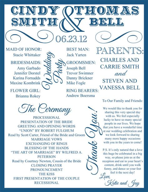 program ideas show me your unique wedding programs weddingbee