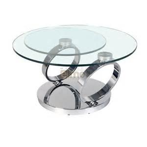 table basse ronde pied acier design verre plateau