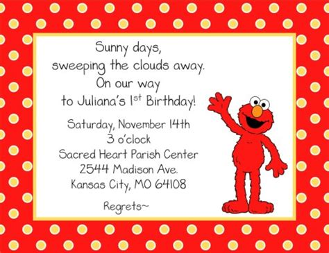 elmo birthday invitations ideas free