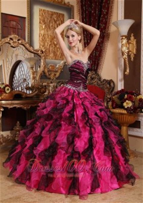 Popular black and hot pink quinceanera dress sweetheart organza