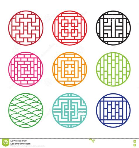 chinese pattern frame vector set of round chinese pattern window frame stock vector