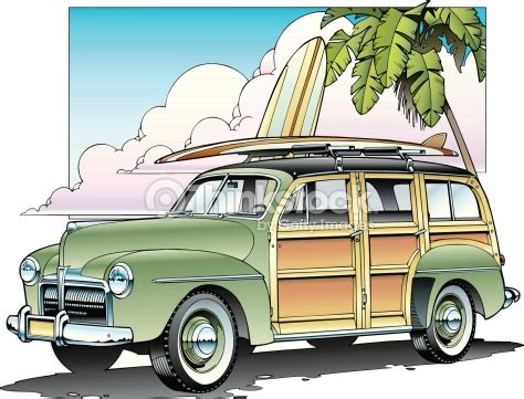 surf car clipart woody and surfboard vector art thinkstock