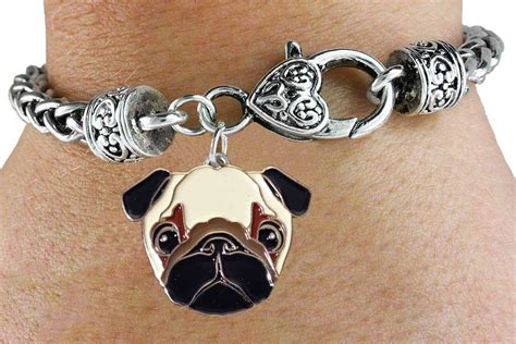 pug charm bracelet buy pug silver bracelet w silver and enamel charm and lobster clasp j25832