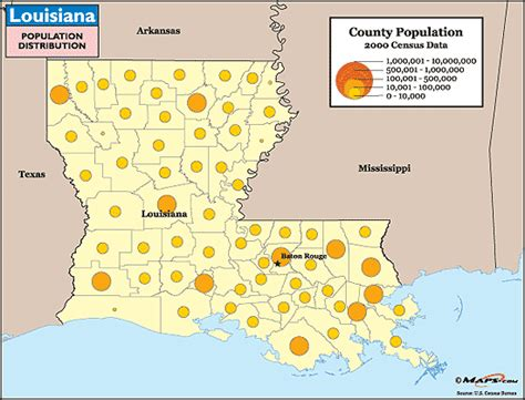 south louisiana elevation map louisiana population distribution map by maps from