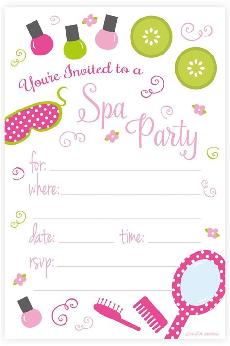 free printable birthday invitations spa theme spa birthday party invitations fill in style 20 count