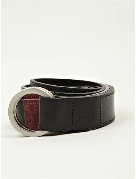 white mountaineering mens leather belt in black for