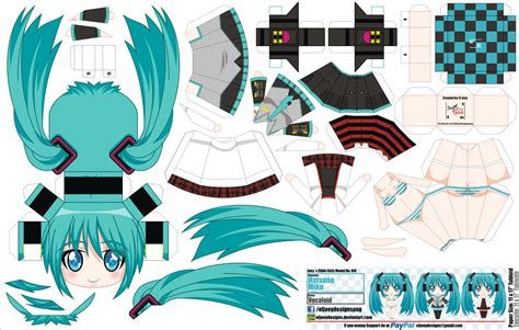 Paper Crafts Anime - hatsune miku vocaloid anime papercraft papercrafts