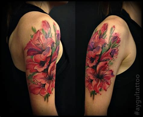 flower tattoo half sleeve designs 60 one trendy gladiolus tattoos golfian
