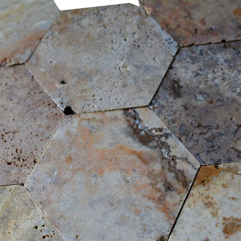 scabos travertine 6 quot hexagon hexagonal honed mosaic tile