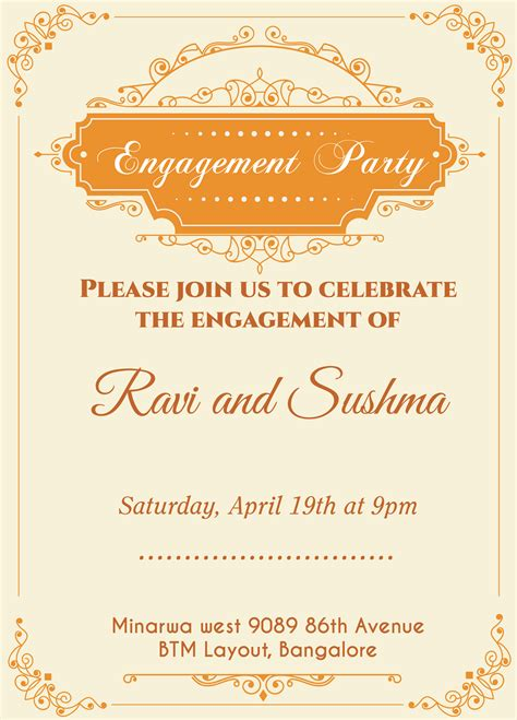engagement invitation card template indian engagement invitation card with wordings check it