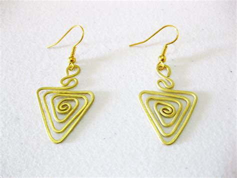 Handmade Jewelry Thailand - brass dangle earrings triangle fashion designs handmade