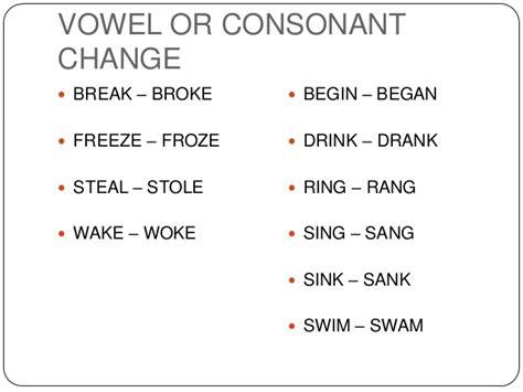 simple past tense of irregular verbs