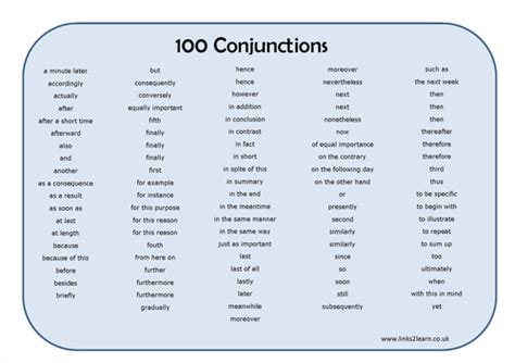 Mat List by 100 Conjunctions Learning Mat By Eric T Viking Teaching