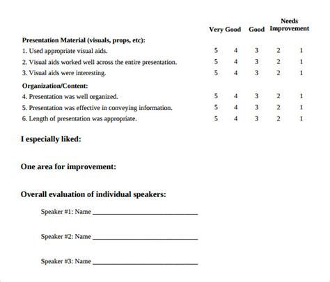presentation evaluation form in doc 39 presenter evaluation form template simple presentation