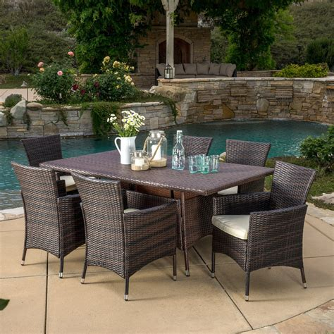 Garden Furniture Decor Best Selling Home Decor 7 Outdoor Wicker Dining Set Lowe S Canada