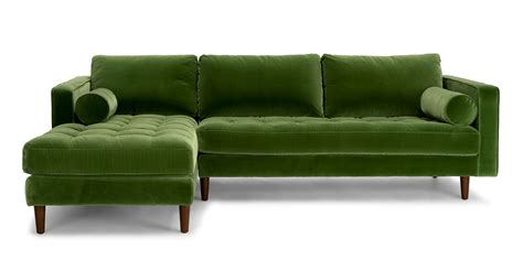 modern green velvet sofa sven grass green left sectional sofa sectionals