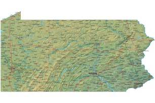 detailed pennsylvania map pa terrain map