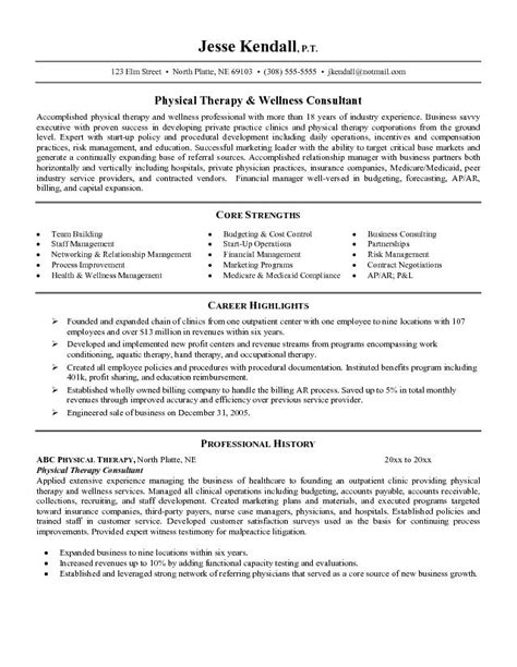 physical therapy resume exles this free sle was provided by aspirationsresume