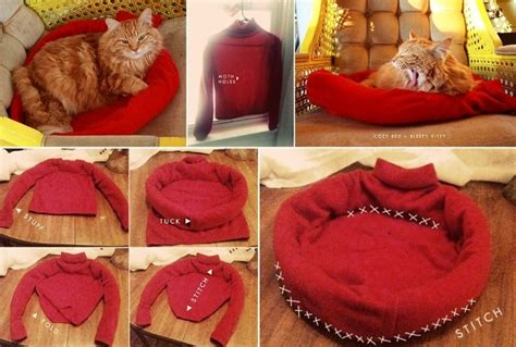 how to make a cat bed diy kitty cozy sweater bed home design garden