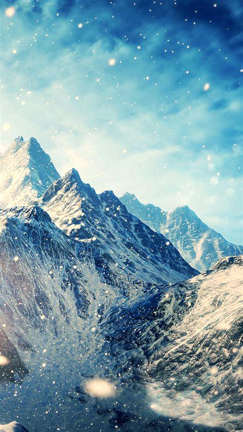 magical winter snow mountain scene iphone  wallpaper