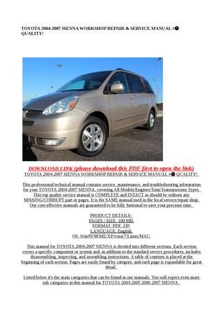 free download parts manuals 2007 toyota sienna instrument cluster toyota 2004 2007 sienna workshop repair service manual quality by steve issuu