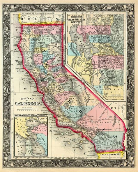 california map drawing antique map of california 1860 drawing by mountain dreams