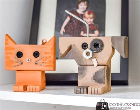 scrap wood robots  pets easy wood projects  kids