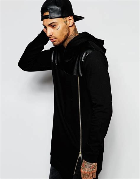 Tshirt Longline Leather Oveersized asos longline hoodie with faux leather panel gold zip in black for lyst