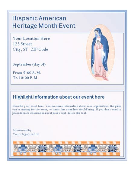 Download Hispanic American Heritage Month Event Flyer Free Flyer Templates For Microsoft Office Flyer Template Word 2003