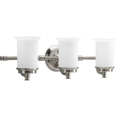 home depot bathroom lighting fixtures progress lighting currents collection 3 light brushed