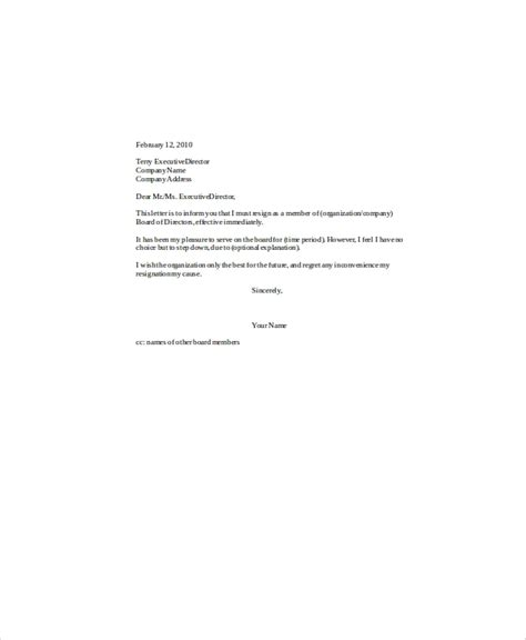 sample board resignation letter templates