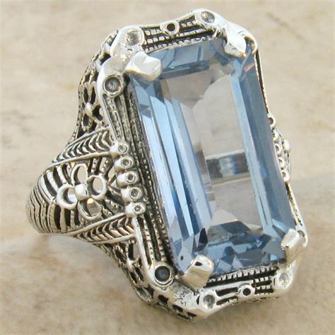 8 carat aquamarine 925 sterling silver antique style
