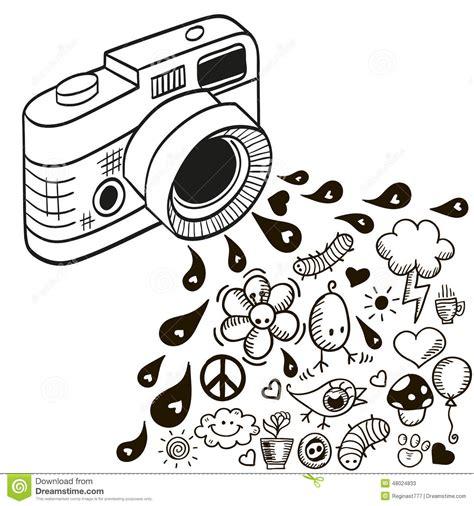 imagenes hipster camara c 225 mara del garabato ilustraci 243 n del vector imagen de hoja